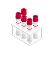 red vacutainer blood collection tubes in isometric vector image vector image