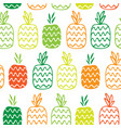 seamless pattern with contour pineapples vector image