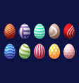set 10 color easter eggs with pattern design vector image
