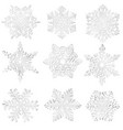 set homemade paper snowflakes vector image vector image