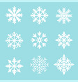 set white snowflakes on a blue vector image vector image