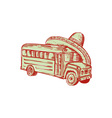Sombrero School Bus Etching vector image
