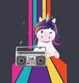 unicorn with boombox vector image vector image
