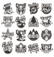 vintage wild west emblems collection vector image vector image