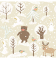Winter background with animals vector image vector image