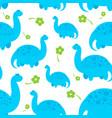 blue cartoon dinosaur pattern vector image