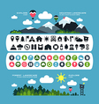 Camping icons and landscape banners vector image