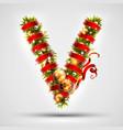christmas font letter v of christmas tree vector image