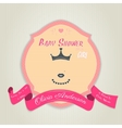 Baby shower invitation with princess with a crown vector image