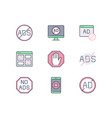 ads block line icons with vector image