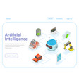 artificial intelligence flat isometric vector image vector image