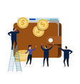 big wallet with small people business man around vector image
