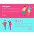 birthday party web online posters man and woman vector image vector image