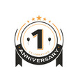 birthday vintage logo template 1 st anniversary vector image vector image