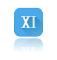 blue icon with xi roman numeral with reflection vector image