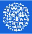 blue travel landmark circle background vector image vector image