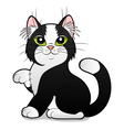 cartoon black and white cat vector image vector image