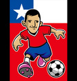 chile soccer player with flag background vector image vector image