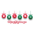christmas elements hanging in red and green color vector image vector image