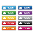 Cloud metallic rectangular buttons vector image