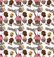 Colored seamless pattern chocolate cupcake vector image vector image