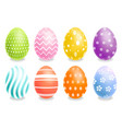 colorful easter eggs set realistic spring vector image vector image