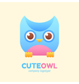Cute owl logotype for children store company vector image