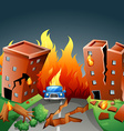 Earthquake with major fire in the city vector image