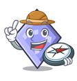 explorer rhombus mascot cartoon style vector image