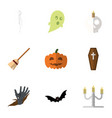 flat icon celebrate set of zombie broom vector image vector image