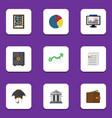 flat icon finance set of bank document strongbox
