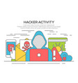 hacker internet security line flat concept vector image vector image