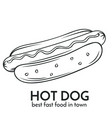 hand drawn hot dog icon vector image vector image