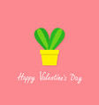 happy valentines day cactus heart icon in flower vector image