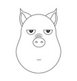 head of annoyed pig in outline style kawaii vector image vector image