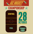 ice hockey typographical vintage style poster vector image