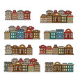 isolated colorful low-rise housescity elements vector image