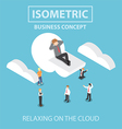 Isometric businessman is relaxing while lying on a vector image vector image