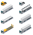isometric trucks with semi-trail vector image vector image