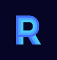 logo letter r blue glowing vector image vector image