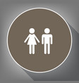 male and female sign white icon on brown vector image vector image