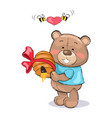 male teddy bear in blue t-shirt holding hive honey vector image
