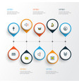 multimedia icons colored line set with drum vector image vector image