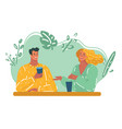 romantic loving couple drinking coffee vector image vector image