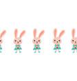 seamless border bunny holding a cupcake vector image vector image