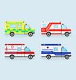 set of four emergency ambulance cars ambulance vector image vector image