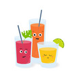 soft drinks in glasses with cute funny faces vector image vector image