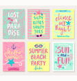 Summer hand drawn calligraphyc card set