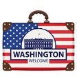travel suitcase with flag of usa and white house vector image vector image