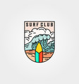 wave and surf club icon logo template design vector image